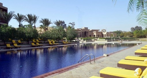 Enjoy a luxurious stay on your Egypt vacation at Mena house.