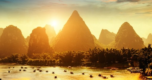 Sunset landscape of Yangshuo