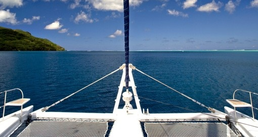 Enjoy ride on the catamaran during your next trip to Tahiti.