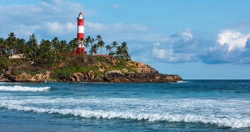 Lighthouse by the sea in Kovalam