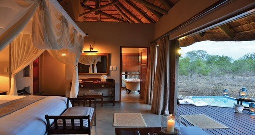 Sleep in comfort at the Imbali Safari Lodge during your South Africa tour.
