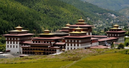 View of Tashichoedzong - The 17th century fortress-monastery and a  great photo opportunity while on your Bhutan vacation.