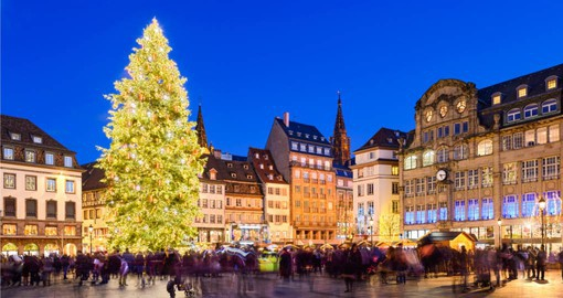 Christmas market in festive Strasbourg, France