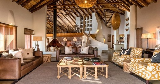 The main lodge lounge at Impodimo Game Lodge in South Africa.