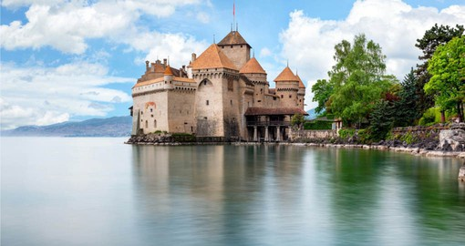 See beautiful Chateau de Chillon on lake Geneva on your Switzerland vacation