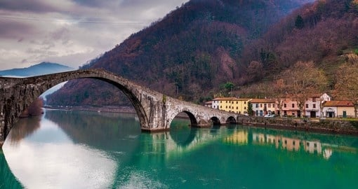 Devil Bridge over the Serchio river in Tuscany