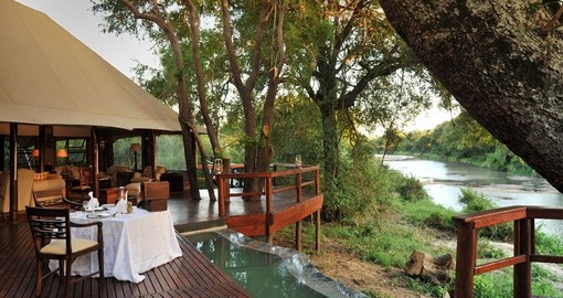 Hamilton's tented camp main area looking over river