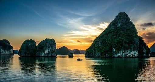 Beautiful sunset over Halong Bay