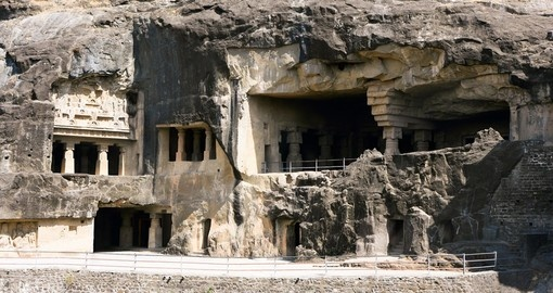 Facade of ancient Ellora rock