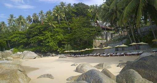 Stroll along the white sand Pansea Beach on one of your future Trips to Thailand