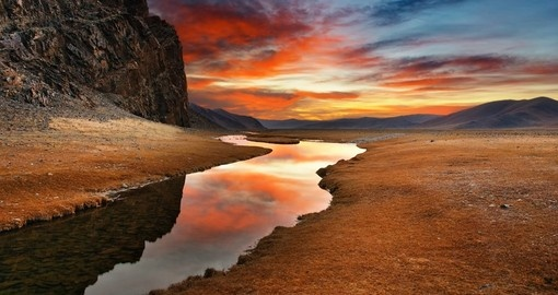 Sunrise in the Mongolian desert
