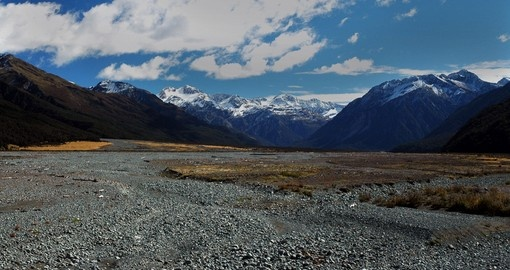 Dry Waimakariri River flood plain on your next New Zealand vacations.
