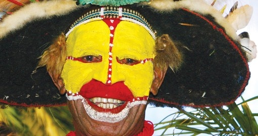 Papua New Guinea wigman - always a popular photo opportunity on all Papua New Guinea tours.