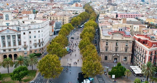 Stroll famous Las Ramblas on your Spain vacation