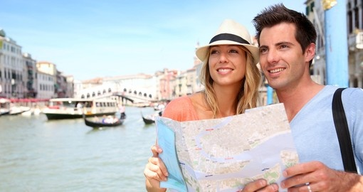 Cheerful tourists in Venice