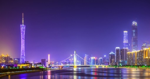 Guangzhou's skyline on the Pearl River is a great photo opportunity on all China tours