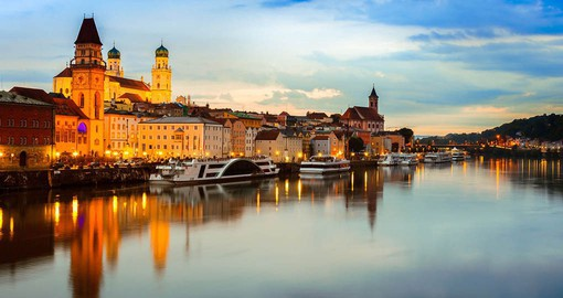 Passau, know as the City of Three Rivers is at the confluence of the Danube, Inn and Ilz rivers