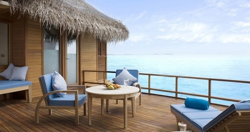 Sit outside on your personal deck and watch as the sun sets on your Trip to Maldives
