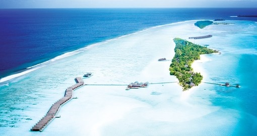 Choose between either a villa on the beach or one that is located on the ocean with your Maldives Vacation Packages