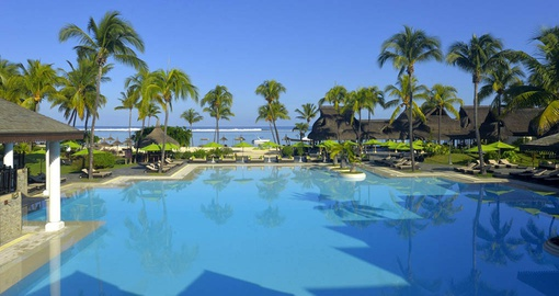 Relax in the pool on your trip to Mauritius