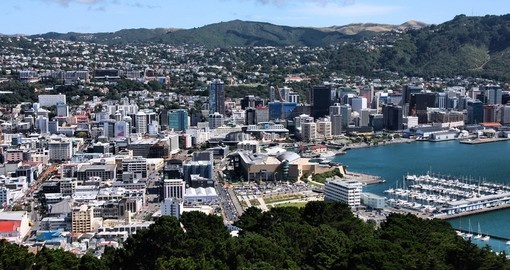 An aerial view of central Wellington
