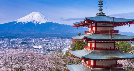 Red Pagoda with Mt. Fuji