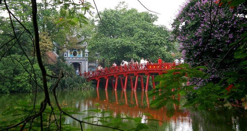 The Huc Bridge is located across Hoan Kiem Lake in the center of the Vietnamese capital of Hanoi
