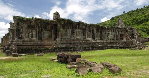 Ruined Khmer temple complex Vat Phou - UNESCO World Heritage Site and a popular photo opportunity while on your Laos tour.