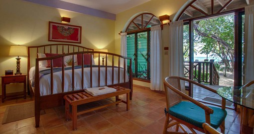 The beachfront rooms provide a comfortable home during your Belize vacation