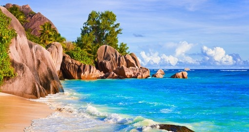 White sand beaches of Seychelles