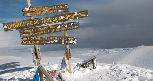 At the top of Mount Kilimanjaro in Tanzania