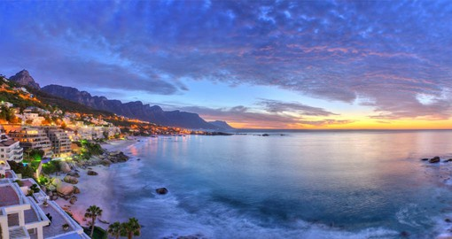 Camps Bay is located on the shores of the Atlantic Ocean, at the foot of the Twelve Apostles mountain range