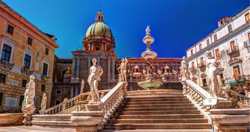 Experience Fountain of Shame on Piazza Pretoria in the heart of Palermo on your next Italy vacations.