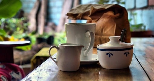 Coffee set cups in Sodwana Bay, KwaZulu-Natal