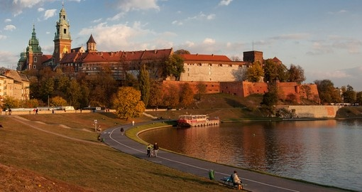 Wawel Castle in Krakow during a fall day