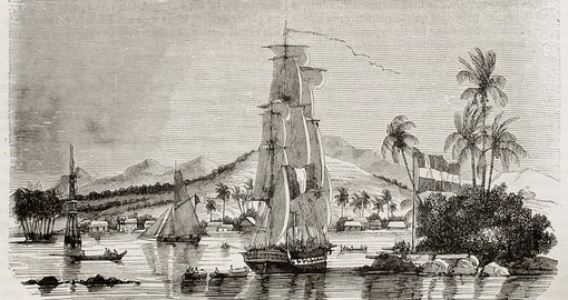 Papeete bay old view, 1843