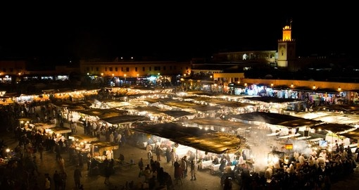 The famous El Jemaa el Fna Square is perhaps the most visited place on all Marrakech tours.