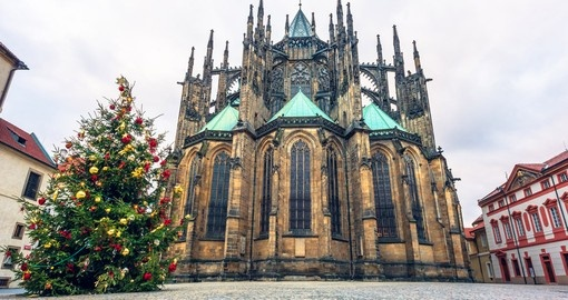 View of the Christmas tree and St.Vitus Cathedral