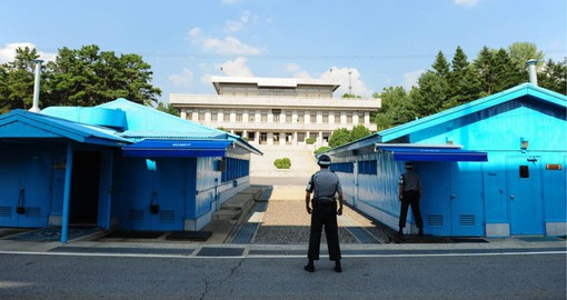 The Peace House at the border village of Panmunjom in North Korea, lies in the Demilitarized Zone between the two Koreas