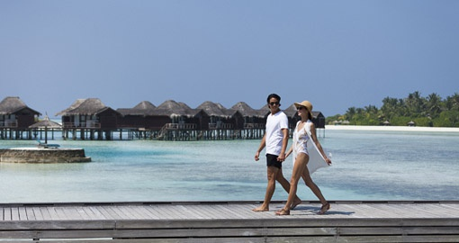 Feel the warm ocean air as you walk to the main area of the island of Anantara Veli Resort on your Maldives Vacation