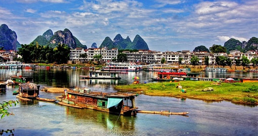The Li River and surrounding karst mountain landscape is a great photo opportunity on all China tours.