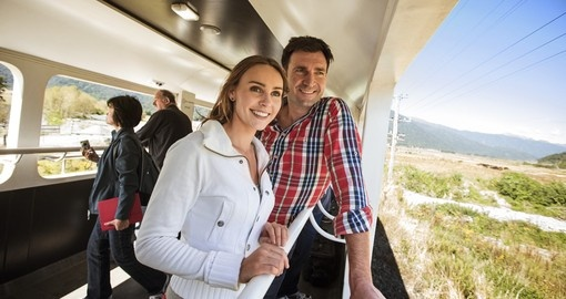 Enjoy the viewing carriage on the TranzAlpine Train during your New Zealand tour.