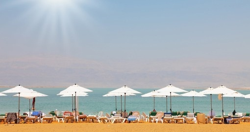 Beach chairs, umbrellas, Dead Sea, Israel