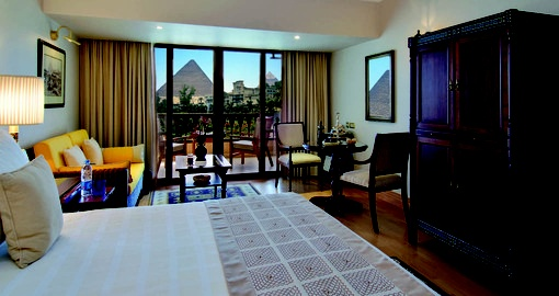 A Pyramid view room is a great photo opportunity on your Egypt vacation.