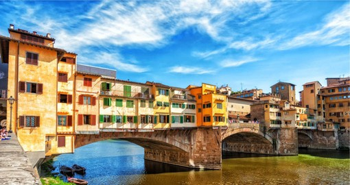 The Ponte Vecchio or Old Bridge spans the River Arno