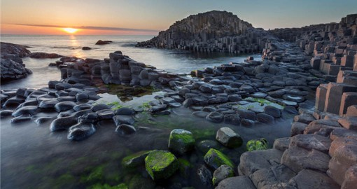 A volcanic eruption 60 million years ago, formed the 40,000 black basalt columns that compose The Giant's Causeway