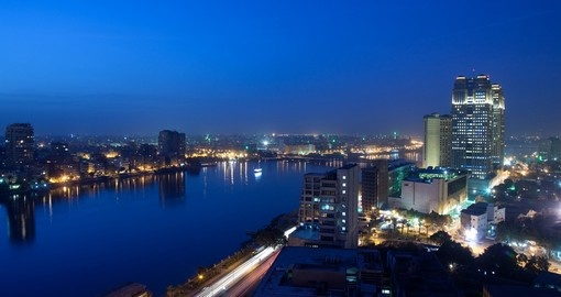 The mighty Nile River intersecting Cairo, Egypt's largest city