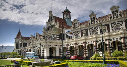 Anzac Square and the Dunedin Railway Station dating from 1906
