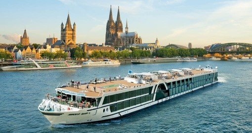The MS Amadeus Silver II, a European cruise ship on the Rhine in Cologne, Germany.
