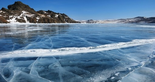 Black ice during the winter on Baikal Lake
